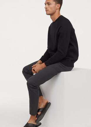 Серые твиловые брюки h&m ! slim fit !