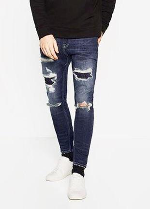 Синие дранные джинсы zara man !