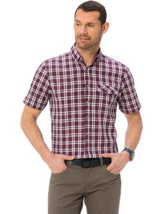 Бордовая мужская рубашка lc waikiki / лс вайкики в белую клетк...