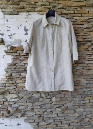Котоново-льняная рубашка туника большого размера