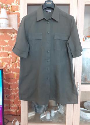 Суперовая котоново-льняная рубашка туника большого размера