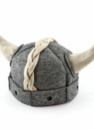 Шапка для бани взрослая викинг с рогами, войлок