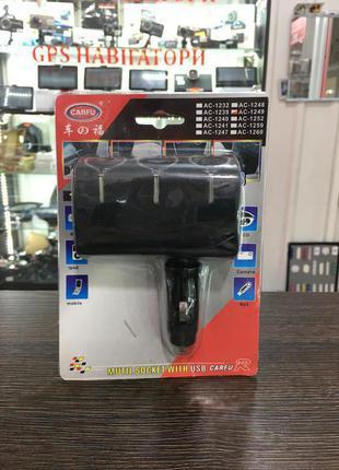 Тройник в прикуриватель AC-1249 USB
