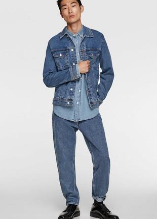 Стильная джинсовая куртка bershka модного кроя оверсайз