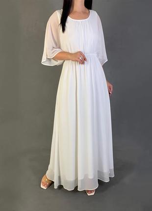 Длинное белое платье в пол шифон свободного кроя