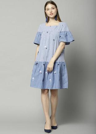 Шикарное хлопковое платье с кармашками,с вышивкой