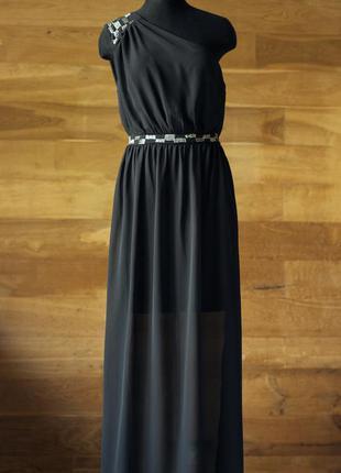 Черное вечернее платье в греческом стиле diamond, размер l