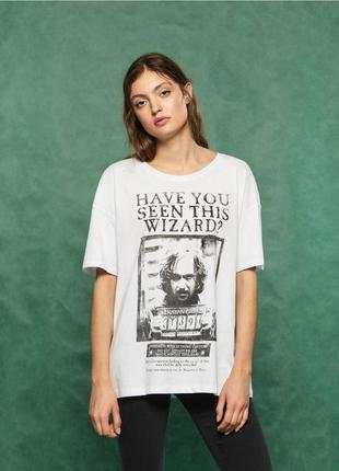 Новая широкая белая футболка sinsay wizard волшебник harry pot...