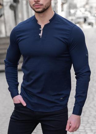 Рубашка мужская приталенная лонгслив - синий цвет/без ворота