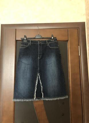 Модная брендовая джинсовая юбка с бахромой от lola & liza. супер!