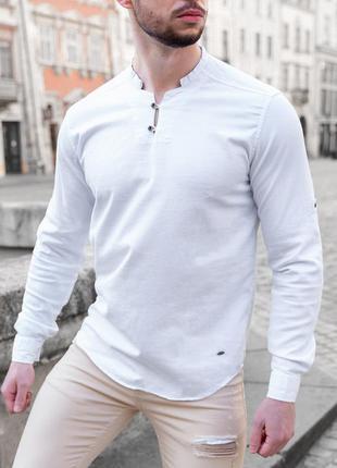 Рубашка мужская приталенная лонгслив - белый цвет/без ворота
