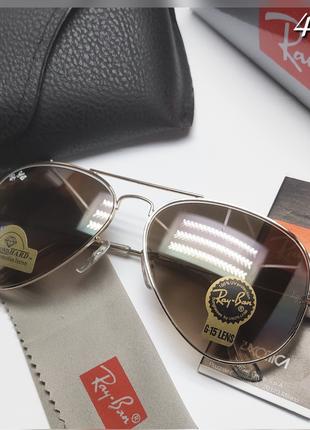 Мужские очки ray ban авиаторы коричневые в золоте
