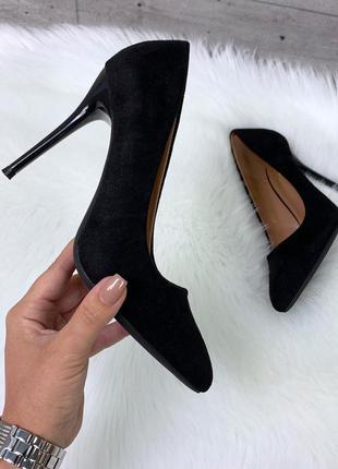 Чёрные замшевые туфли лодочки на шпильке,чёрные туфли лодочки ...