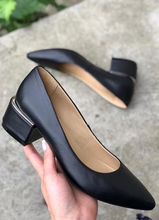 Туфли женские натуральные кожаные черные на каблуке 4.5 см 💥