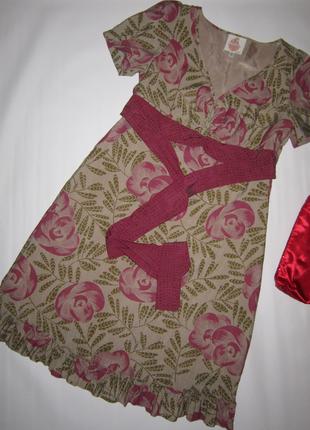 Винтажное женственное платье цветочный принт оборки пояс 10% шелк