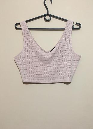 Топ под замшу new look с перфорацией blush pink crop top