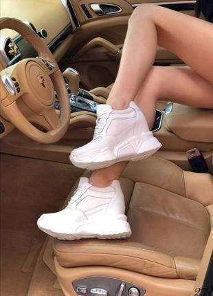 Белые кроссовки на платформе и танкетке,белые сникерсы,кроссов...