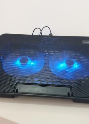 Подставка под ноутбук с 2 вентиляторами и синей подсветкой № 99