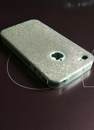 Чехол на айфон 4 4s 7 8 в блесточку силиконовый золото
