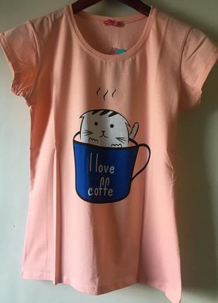 Футболка женская с котиком в чашке