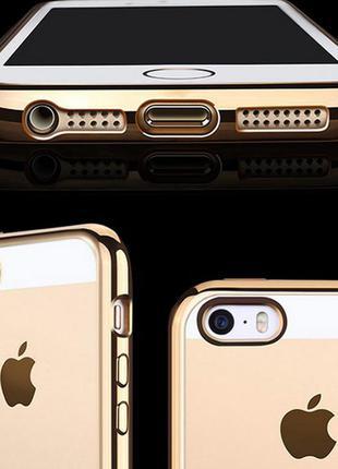 Чехол на айфон 5 5s se силиконовый золотой