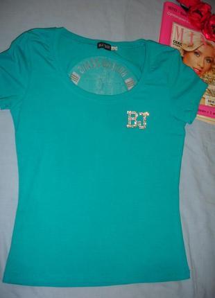 Женская футболка майка топ размер 42-44 со стразами бирюзовая ...