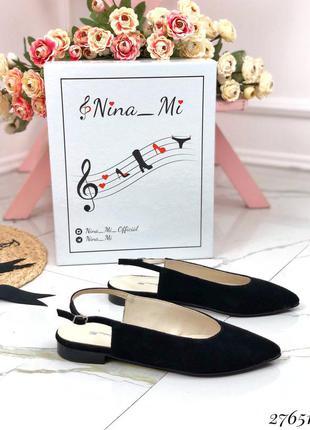❤ женские черные замшевые туфли балетки мюли  босоножки ❤