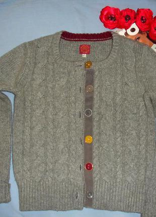 Кофта свитер теплая зимняя на пуговицах размер 40-42 / 6-8 сер...