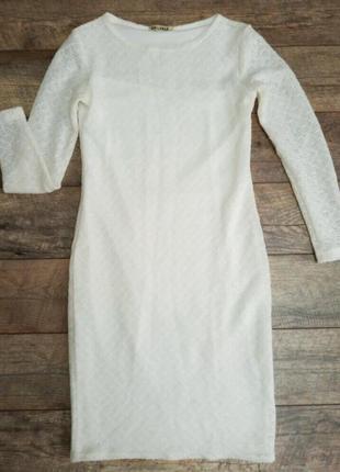 Вязаное теплое нарядное платье