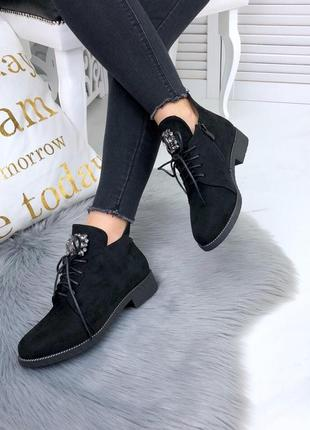 Осень люксовые ботиночки на шнурках с камнями