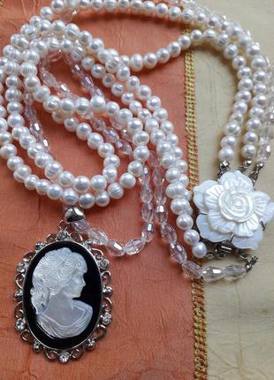 Жемчужное колье ожерелье с камеей