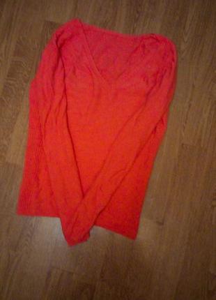Оранжевый свитер теплый с длинным рукавом двусторонний