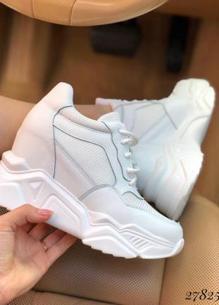 ❤ женские белые кожаные кроссовки сникерсы  ❤