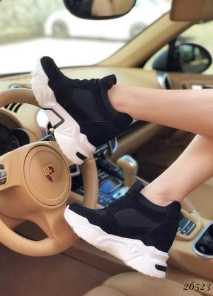 ❤ женские черные  замшевые  кроссовки сникерсы  ❤