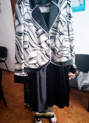 Плюс сайз костюм пиджак с юбкой белый с черным классический оф...