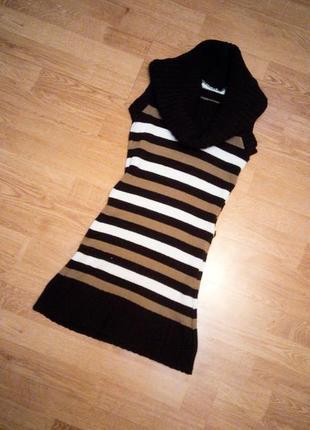 Туника платье вязаное коричневое белое бежевое