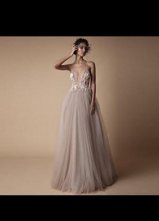 Шикарне дизайнерське плаття вишивка 3d платье цветы тюля сваде...