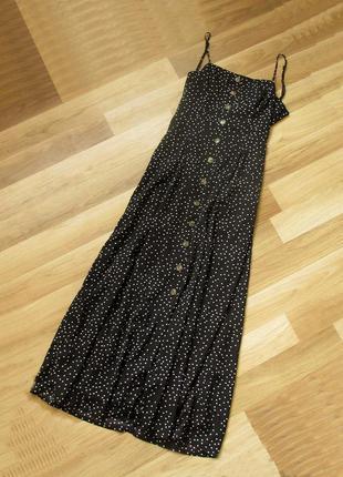 Платье макси сарафан в горошек с красивой спинкой nasty gal