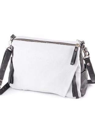 Женская практичная кожаная сумка через плечо белая с черными в...