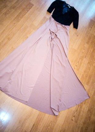 Платье в пол макси длинное верх черный гипюр низ юбка с вырезо...