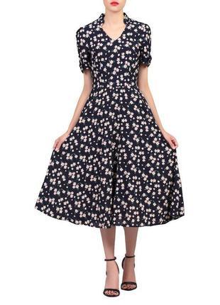 Платье тёмно синее в цветочный принт миди с поясом подкладкой ...