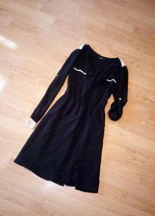 Чёрное платье с бежевыми вставками два положения рукава платье...