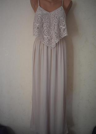 Красивое нежное длинное платье