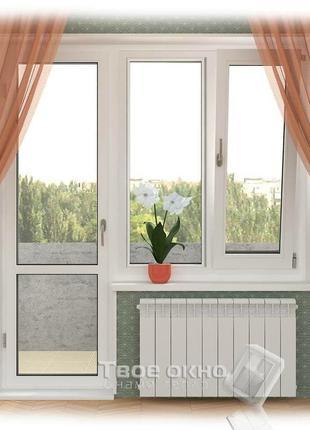 Балконний блок металопластиковий, з двокамерним склопакетом.