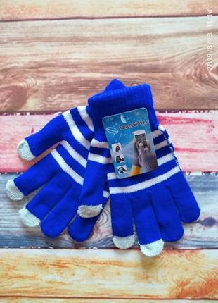 Яркие 🤗 синие сенсорные перчатки touch glove