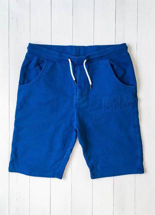 Мужские хлопковые синие шорты от бренда jack & jones. размер l...