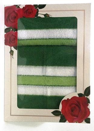 Набор махровых полотенец 2 шт банное + лицевое зеленый с белым