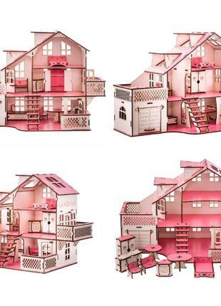 Кукольный дом деревянный с мебелью и с гаражом 57х27х35