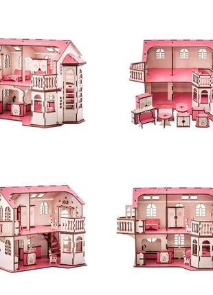 Кукольный дом 57х27х35 с подсветкой, с мебелью, домик для куклы