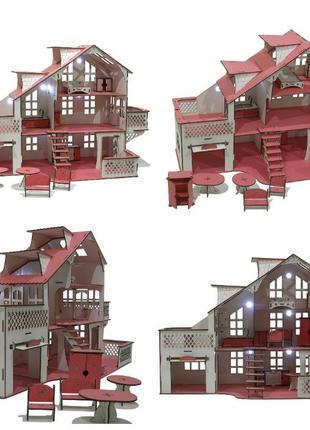Кукольный дом большой деревянный с мебелью, гаражом и подсветкой